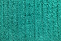 Turquoise colored knitted wool background Knitting pattern. Abstract turquoise colored knitted wool background. Knitting pattern stock photos