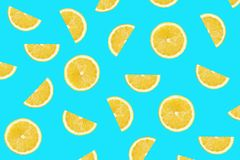 Turquoise colorful pattern of lemon slices royalty free stock photo