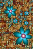 Turquoise Flowers Background. Turquoise Coloured Fractal Flowers Background Pattern Stock Photo