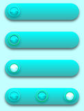 Turquoise convex long button, off, selected and pu Stock Image