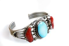 Turquoise and Coral Jewelry Stock Image