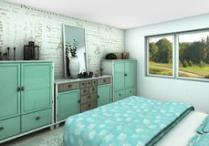 Turquoise cozy bedroom Royalty Free Stock Photography
