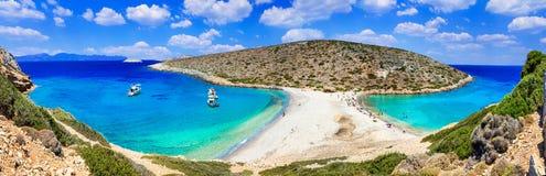 Turquoise crystal beaches of Greece - panorama of Kounoupa islan Royalty Free Stock Photography