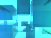 Turquoise cubes. In blue light Royalty Free Stock Photos