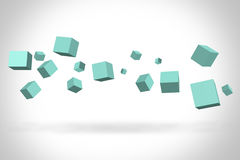 Turquoise cubes suspended in the air royalty free stock photography