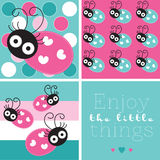 Turquoise cute ladybird  illustration Royalty Free Stock Photo
