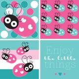 Turquoise cute ladybird  illustration Royalty Free Stock Photo