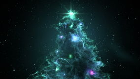 Turquoise Cyan Nebula Christmas Fir Tree background seamless loop 4k resolution. stock footage