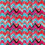 Turquoise d'aquarelle et modèle sans couture vibrant d'ikat rose Modèle tribal à la mode dans le style pour aquarelle Clavette de illustration libre de droits