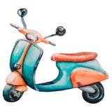 Turquoise de cru d'aquarelle et motocyclette orange illustration libre de droits