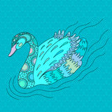 Turquoise decorative swan. Royalty Free Stock Photography