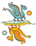 Turquoise dragon and yellow dragon. Royalty Free Stock Images