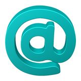 Turquoise e-mail symbol. Turquoise e-mail symbol, isolated on white background. 3D rendering royalty free illustration