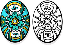 Turquoise easter egg - coloring book Royalty Free Stock Image