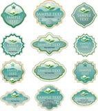 Turquoise eco labels stock photo