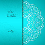Turquoise elegant invitation with floral ornament Stock Image