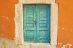 The turquoise entrance to the old house. Royalty Free Stock Images