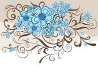 Turquoise et conception florale de brun Illustration Libre de Droits