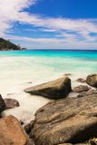 Turquoise exotic lagoon with big stones at Royalty Free Stock Photos