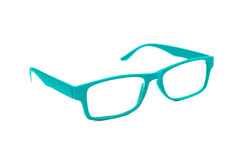 Turquoise Eye Glasses Isolated on White shallow depth of field a Royalty Free Stock Photo
