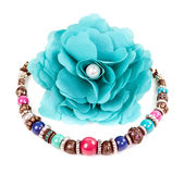 Turquoise fabric flower and color bracelet Stock Photography