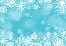 Turquoise falling snow background with flares and sparkles.  Snowflakes abstract. Winter thunder. Vector illustration Stock Photos