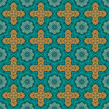 Turquoise floral damask. Seamless pattern. Seamless pattern with lightning effect. Vector wallpaper or background (just 4 objects). Turquoise and yellow (orange vector illustration