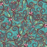 Turquoise floral pattern - 2 Royalty Free Stock Photography
