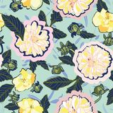 Turquoise floral pattern with cream dahlia. stock photography
