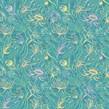 Turquoise floral pattern Stock Photos