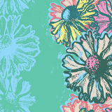 Turquoise floral vertical seamless background Stock Photos