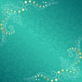 Turquoise frame with delicate sari inspired swirls. Stylish  frame with a white and gold filigree.  Graphics are grouped and in several layers for easy editing Royalty Free Stock Photo