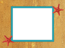 Turquoise frame on wooden background. Royalty Free Stock Photo