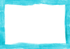 Turquoise freehand painted rectangular border Stock Images