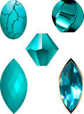 Turquoise Gem and Bead vector illustrations. A cabochon, a twist bead, a bicone bead, faceted marquise and topaz marquise. Vectors are individually grouped for Royalty Free Stock Photography