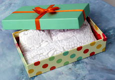 Turquoise gift box stock images