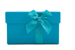 Turquoise gift box with a decorative bow Stock Images