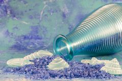 Turquoise glass bottle Royalty Free Stock Images