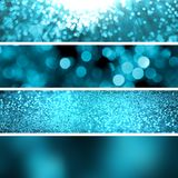 Set turquoise glitter background banners. Blue-green banners, Navy blue, glitter and blur. There is a place for text, logo and additional elements Stock Photos