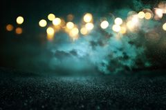 Turquoise glitter vintage lights background. de-focused. royalty free stock photography