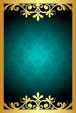 Turquoise  and gold frame Royalty Free Stock Image
