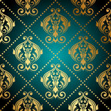 Turquoise and gold ornate wallpaper Royalty Free Stock Images