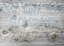 Turquoise And Golden Calligraphy Happy Holidays, Wooden Background Stock Photography
