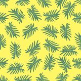 Turquoise and green tropical leaves. Seamless graphic design wit royalty free illustration