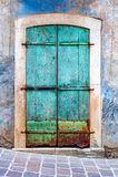Turquoise grunge door Royalty Free Stock Image