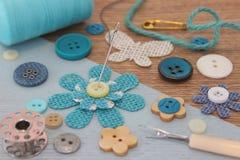 Turquoise Haberdashery items Stock Image