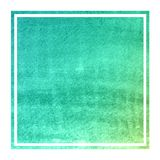 Turquoise hand drawn watercolor rectangular frame background texture with stains. Modern design element royalty free stock images