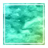 Turquoise hand drawn watercolor rectangular frame background texture with stains. Modern design element royalty free stock photos