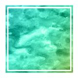 Turquoise hand drawn watercolor rectangular frame background texture with stains. Modern design element stock photo