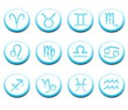 Turquoise horoscope icons royalty free stock images